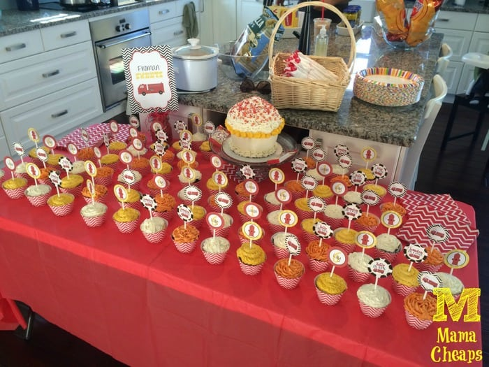 fire truck birthday party dessert table