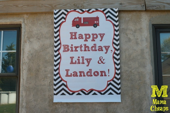 fire truck birthday party sign