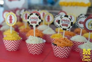 fire truck party cupcake toppers