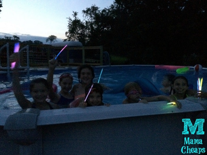 glow sticks in pool
