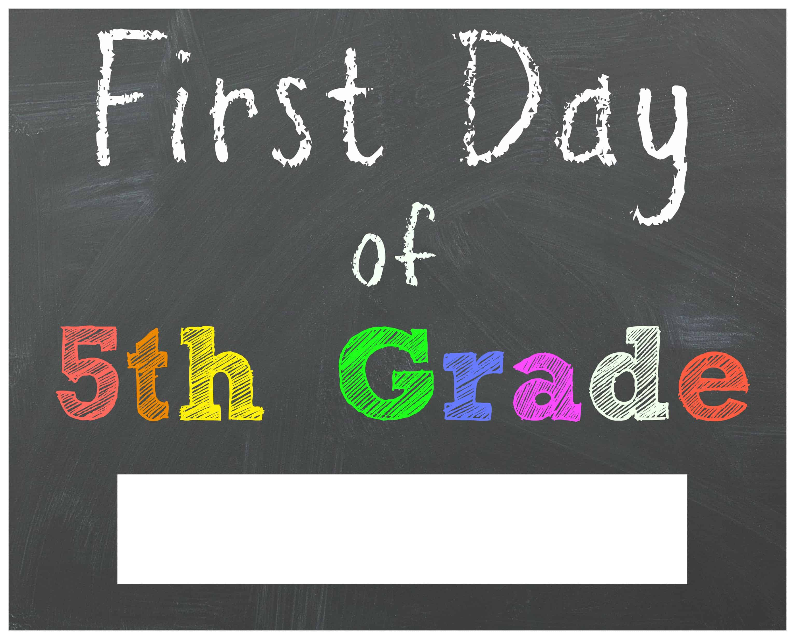 photograph relating to First Day of 5th Grade Printable called Cost-free Back again in the direction of University Printable Chalkboard Signs or symptoms for Very first Working day