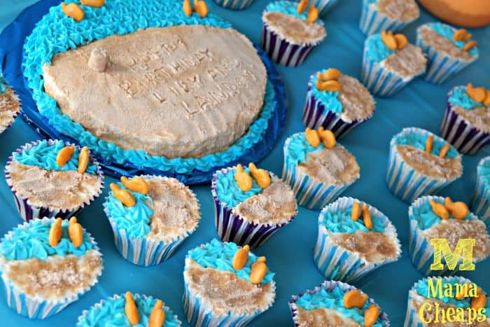 beach party cupcakes cake goldfish