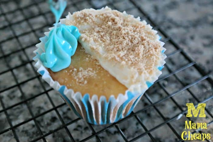 cupcake blue frosting beach