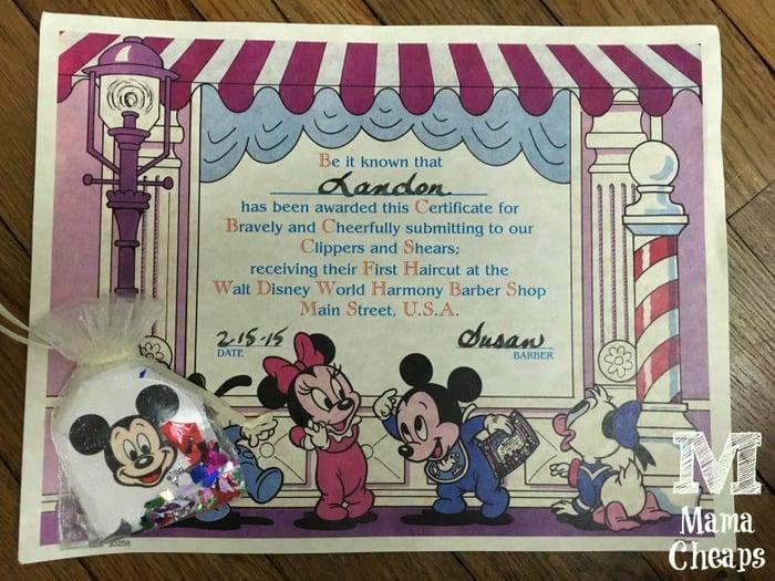Disney World Harmony Barber Shop Babys 1st Haircut Certificate
