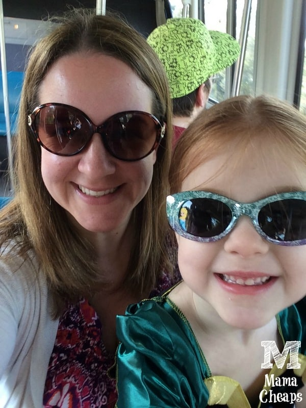 Lily and Mom on Disney Monorail