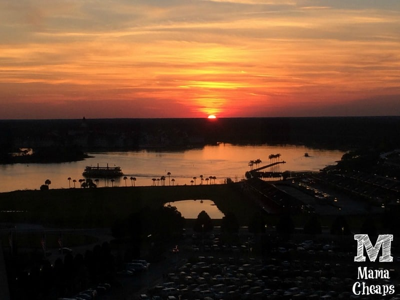 Sunset over 7 Seas Lagoon Disney