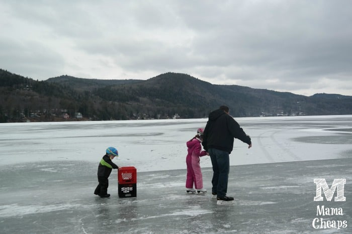 Family Skating on Lake Morey