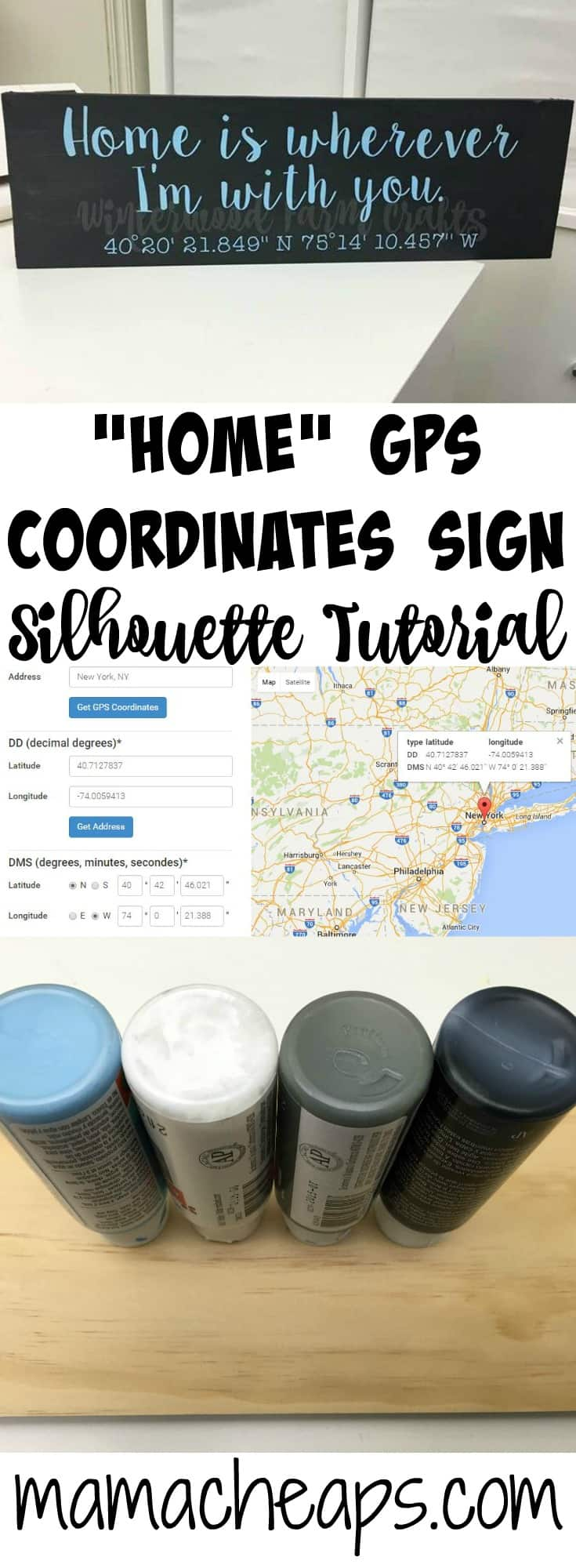 Home GPS Coordinates Sign Silhouette Tutorial