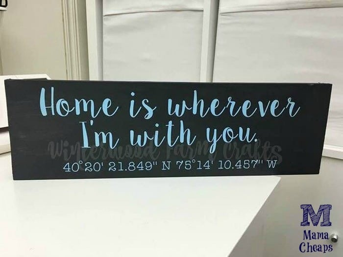 Home GPS Coordinates Wooden Sign