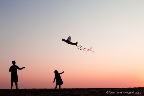 Flying Kite at Sunset Outer Banks