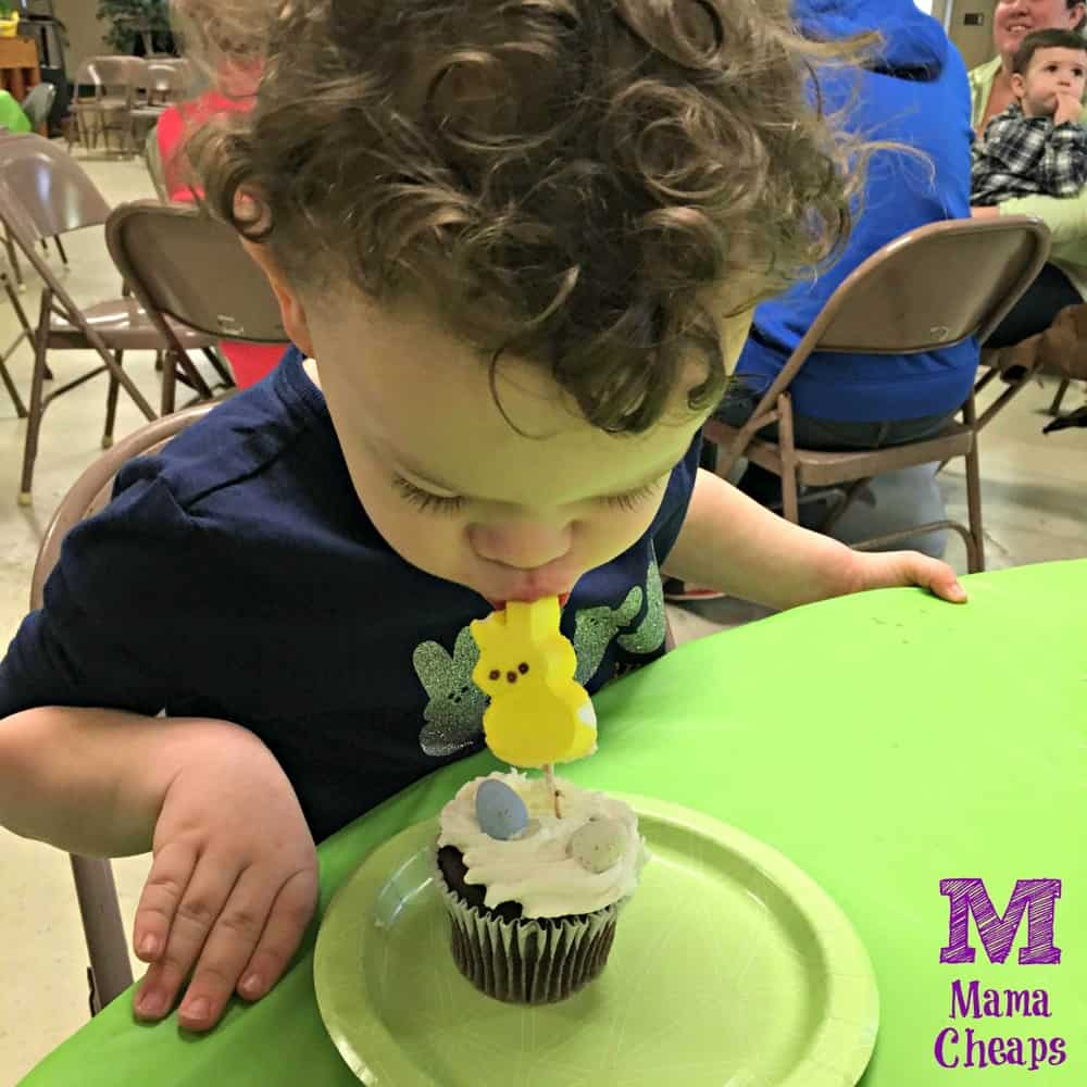 Landon Eating Peeps Cupcake