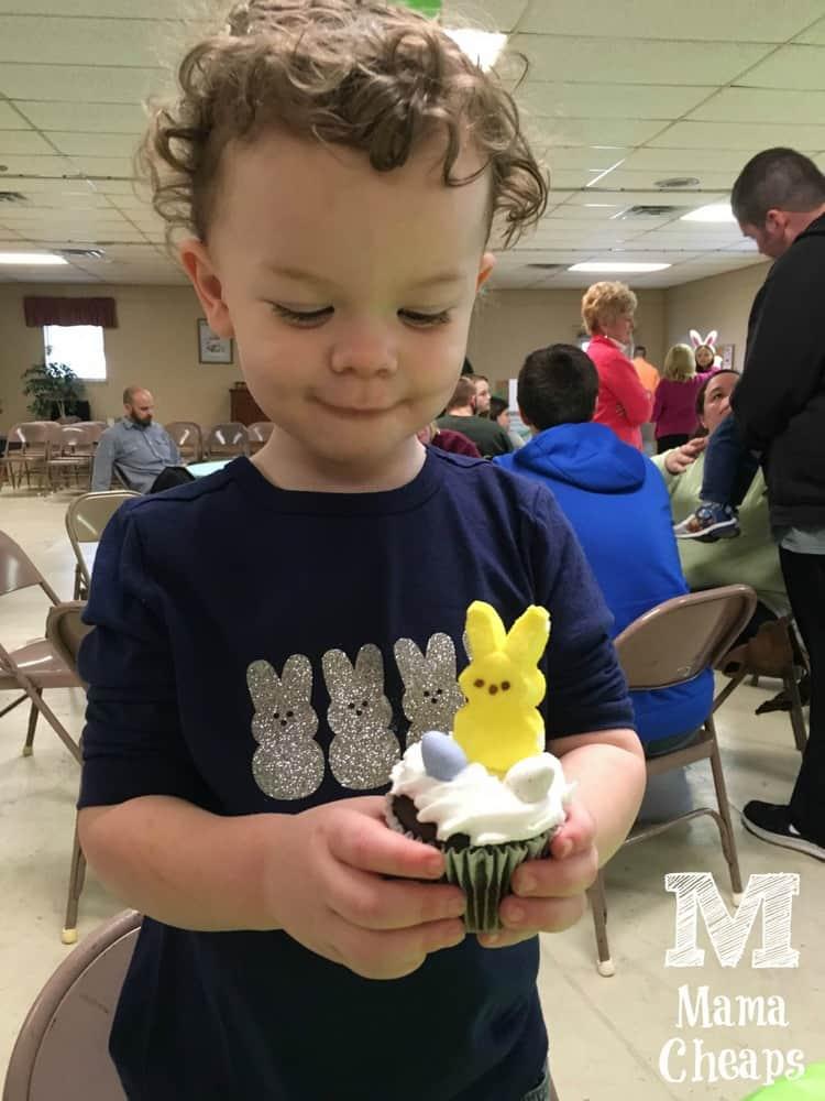 Landon with Peeps Cupcake