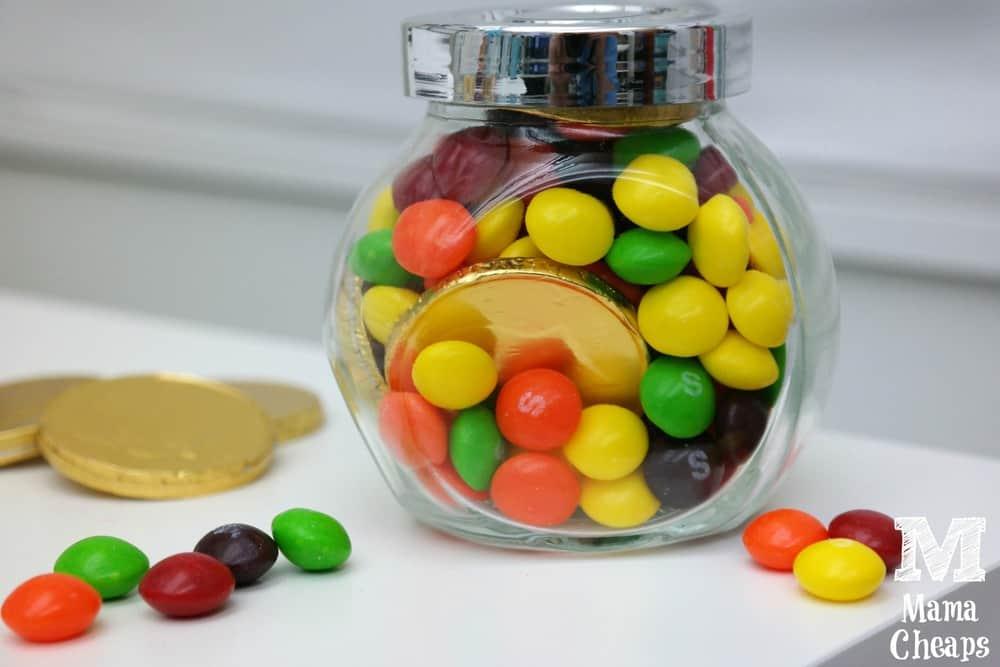 Rainbow Jar Skittles Gold Coins