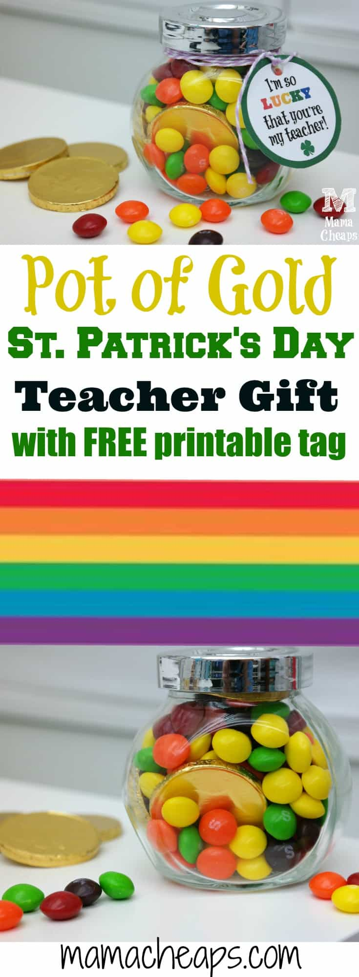 Rainbow Pot of Gold Teacher Gift with Skittles