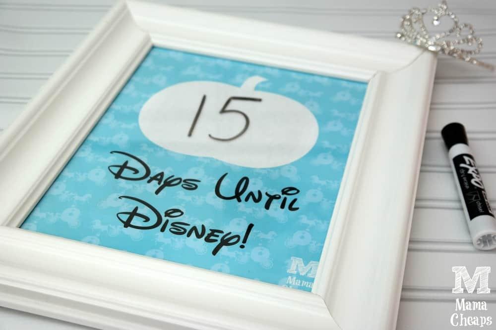 Cinderella Disney Trip Countdown Free Printable