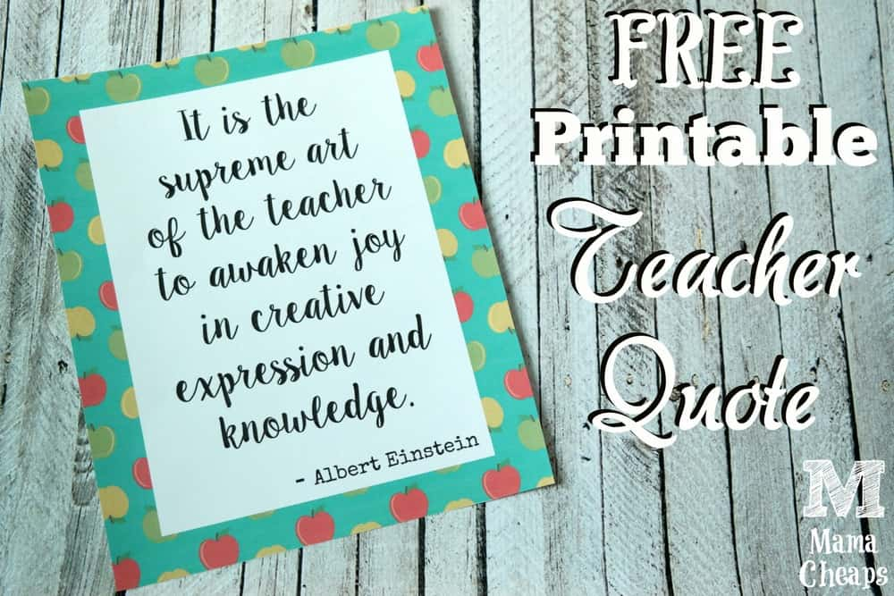 Free Printable Teacher Quote Gift