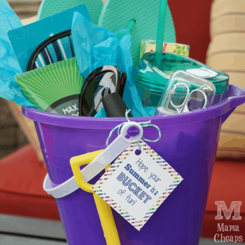Beach Bucket Teacher Gift SQUARE