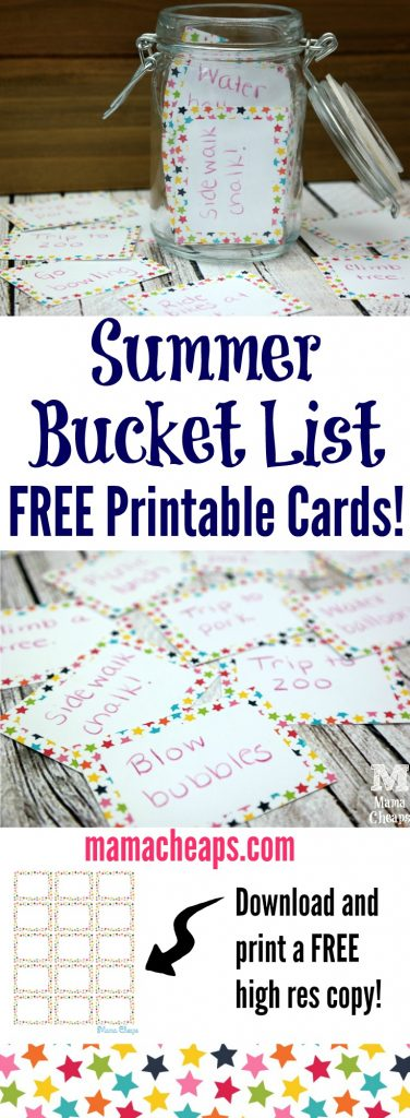 Summer Bucket List with Free Printable Cards