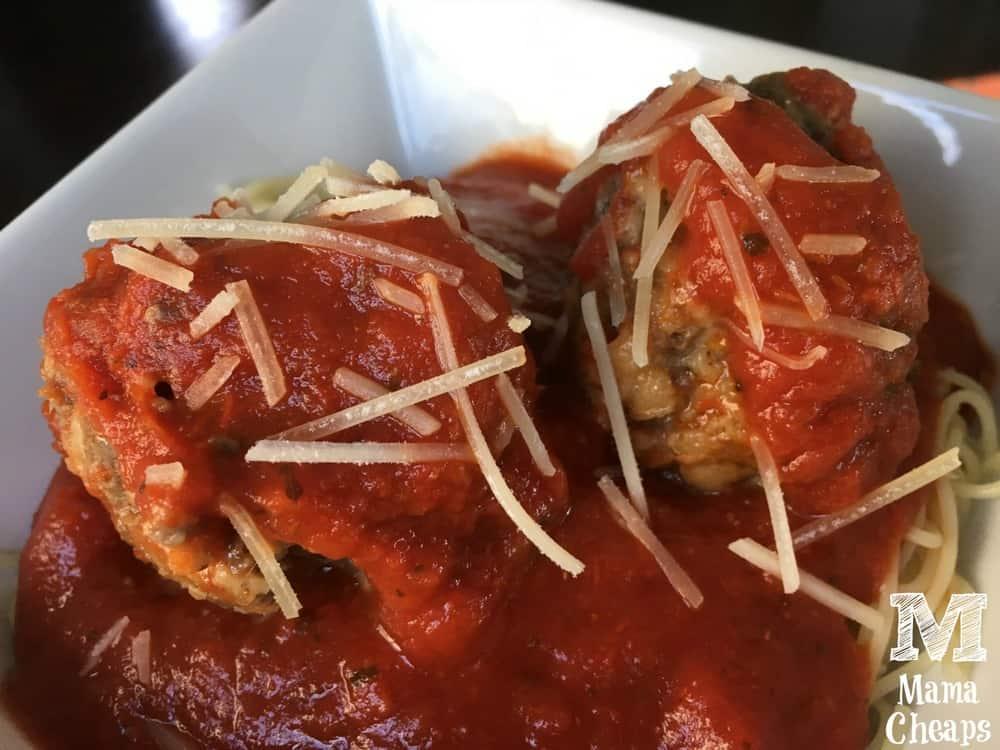 Easy Crock Pot Meatballs on Spaghetti
