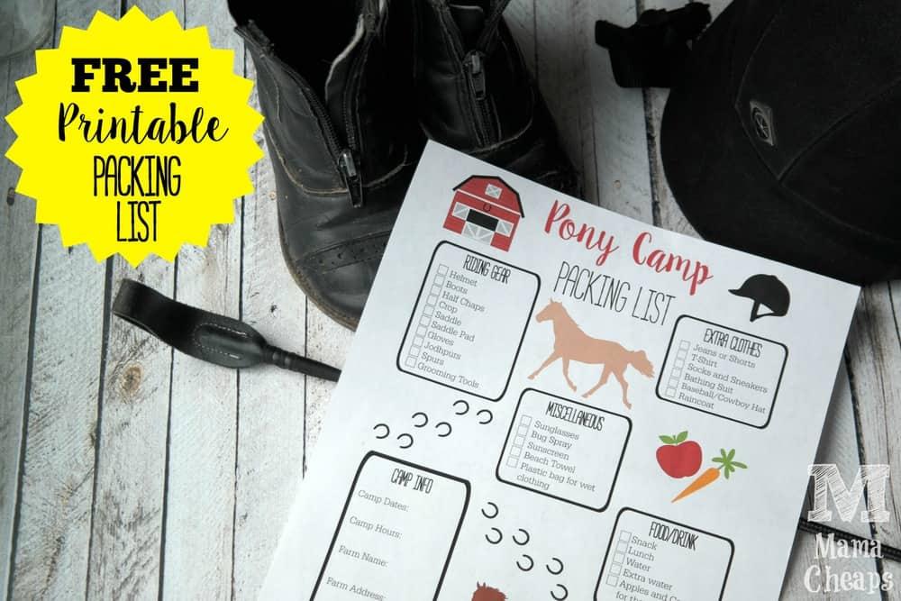 Printable Packing List Pony Camp