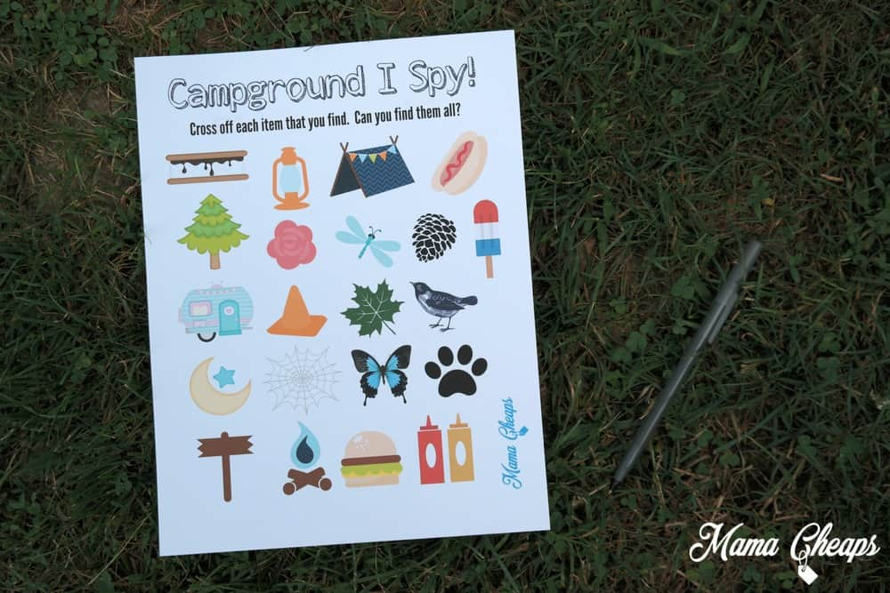 Campground I Spy Printable