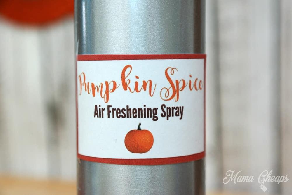 Pumpkin Spice Spray Label