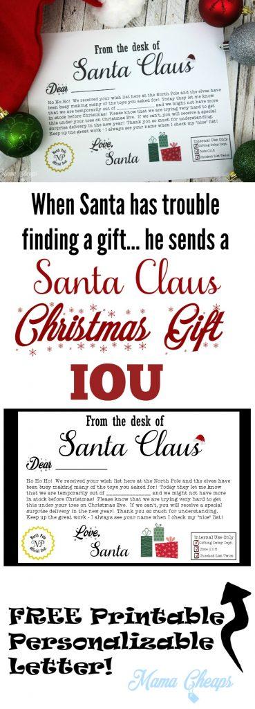 Free Santa Christmas Present Iou Letter