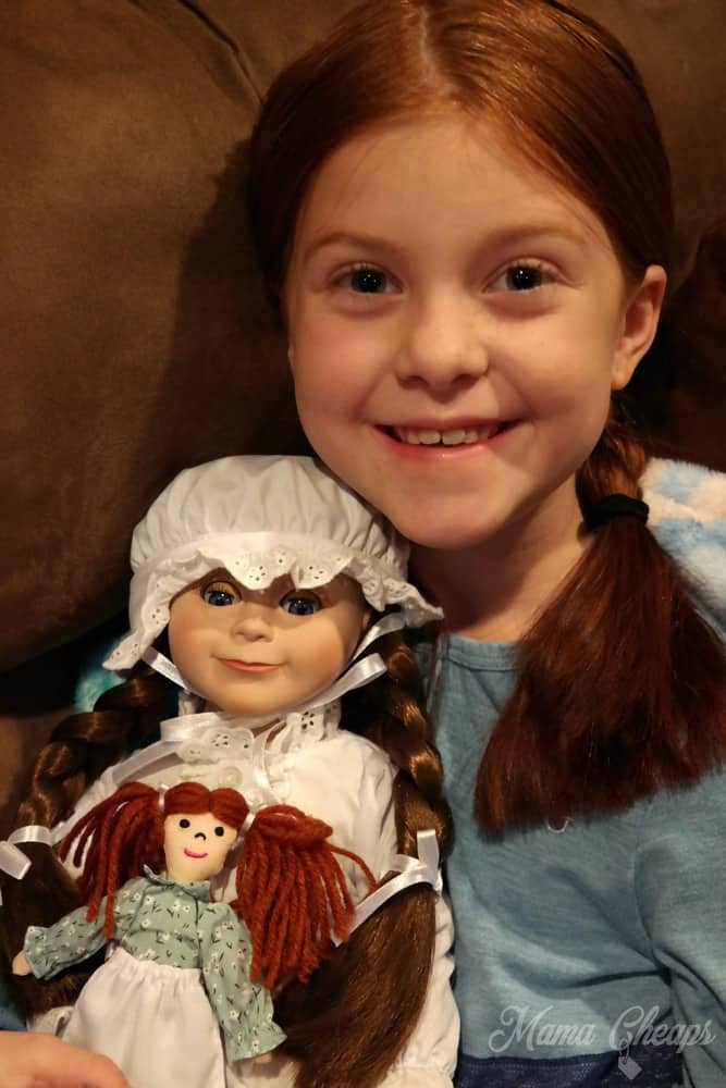 Lily Holding Laura Ingalls Dolls