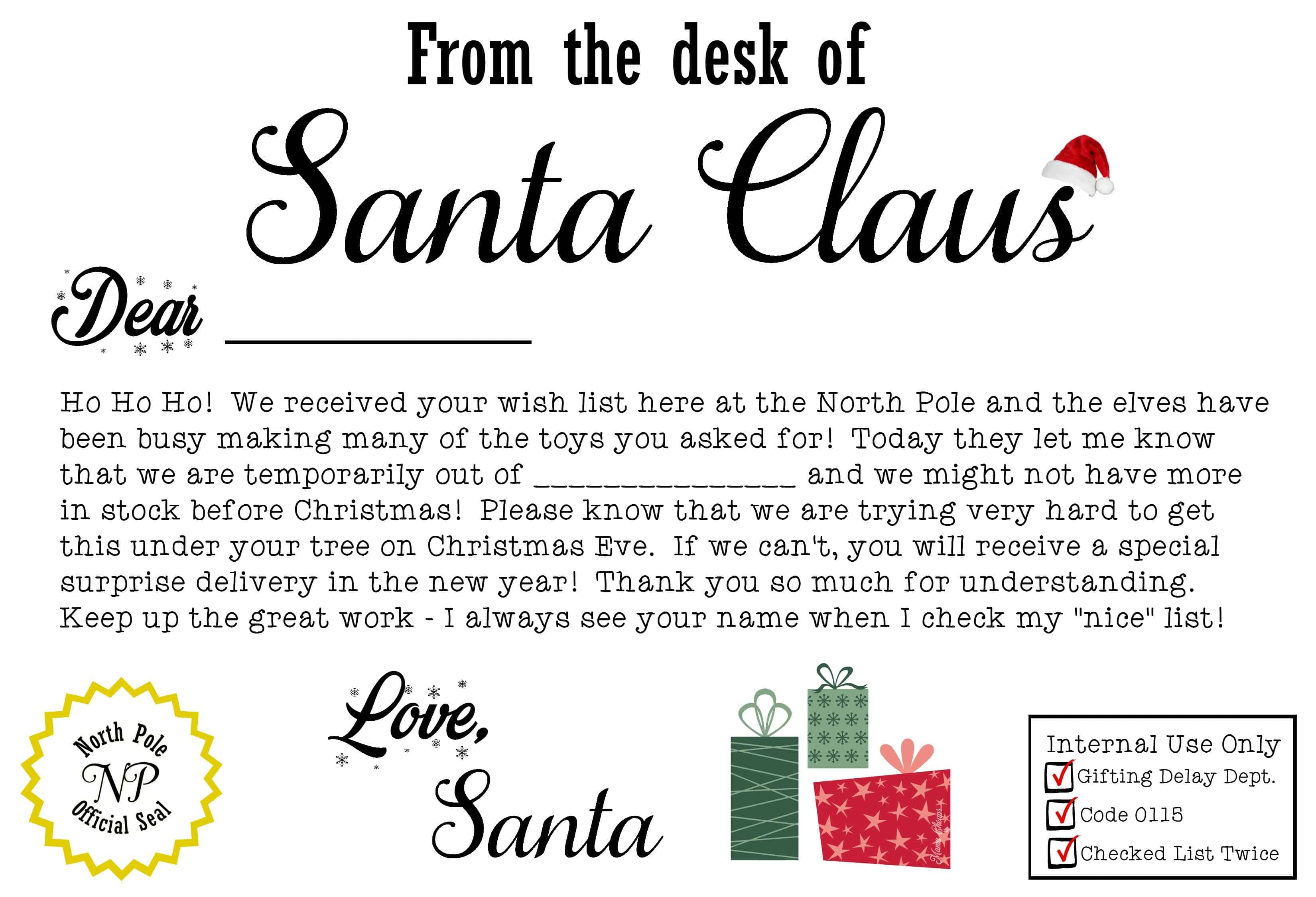 Free santa claus christmas present iou printable letter mama cheaps printable santa iou letter and deliver it before christmas spiritdancerdesigns Images