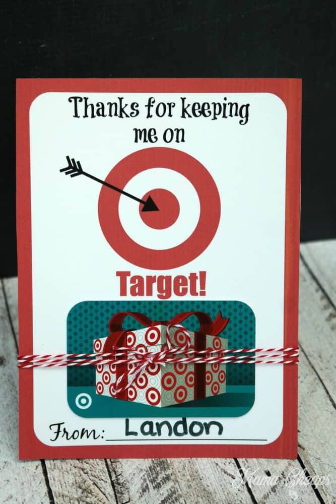 thanks for keeping me on target free printable gift card