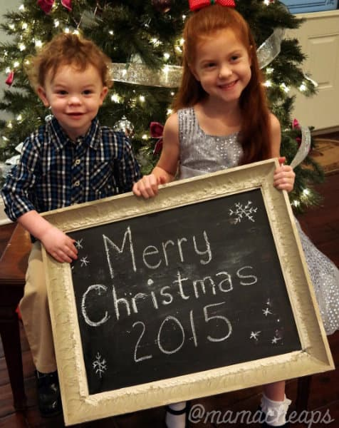 Kids on Christmas Chalkboard Sign