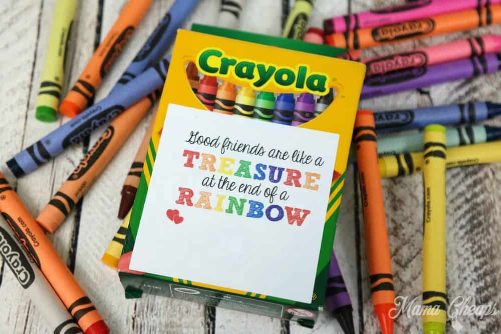 graphic relating to Crayon Printable named Simple Crayon Rainbow Valentine with Absolutely free Printable Tag Mama