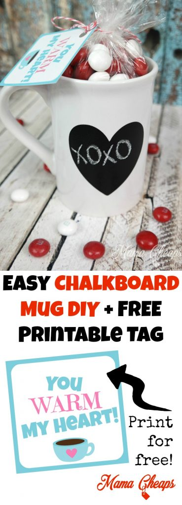 Easy Chalkboard Mug DIY + FREE Printable Tag