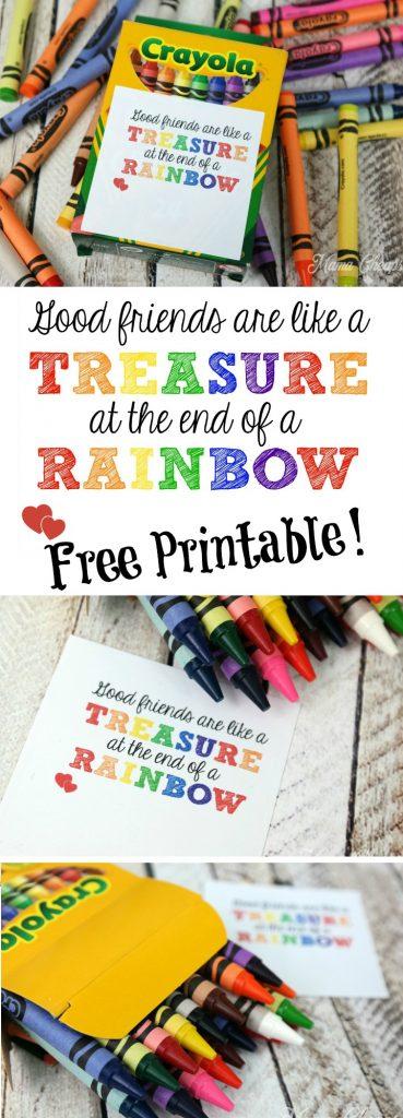 Good Friends Are Like a Treasure Rainbow Free Printable Valentine Tag