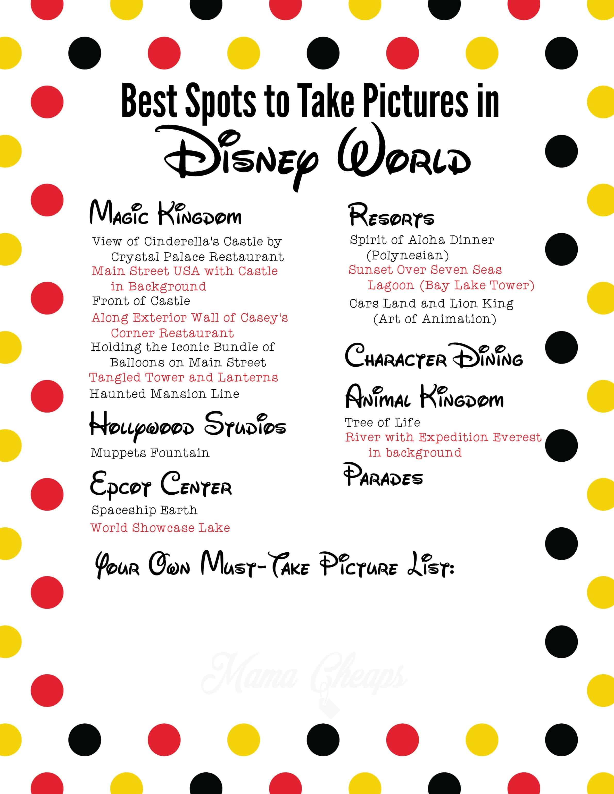 best spots to take pictures in disney world free printable list