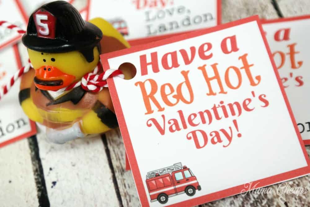 Fire Truck Valentine Tag
