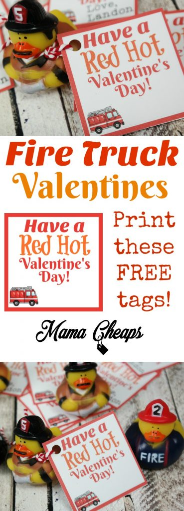 Fire Truck Valentines Free Tags