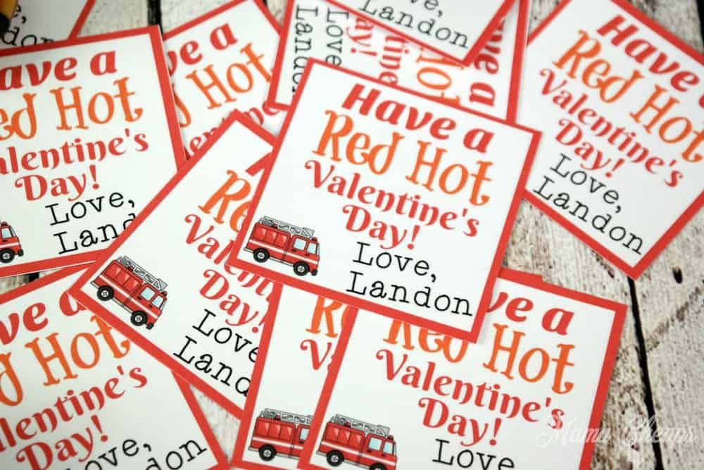 Fire Truck Valentines