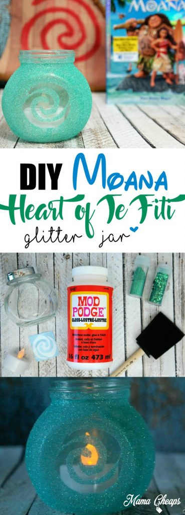DIY Disney's Moana Heart of Te Fiti Glitter Jar Craft
