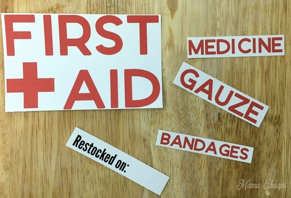 First Aid Kit Printables