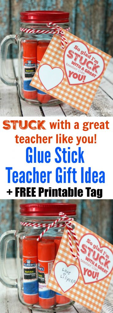 Glue Stick Teacher Gift Idea with Free Tag