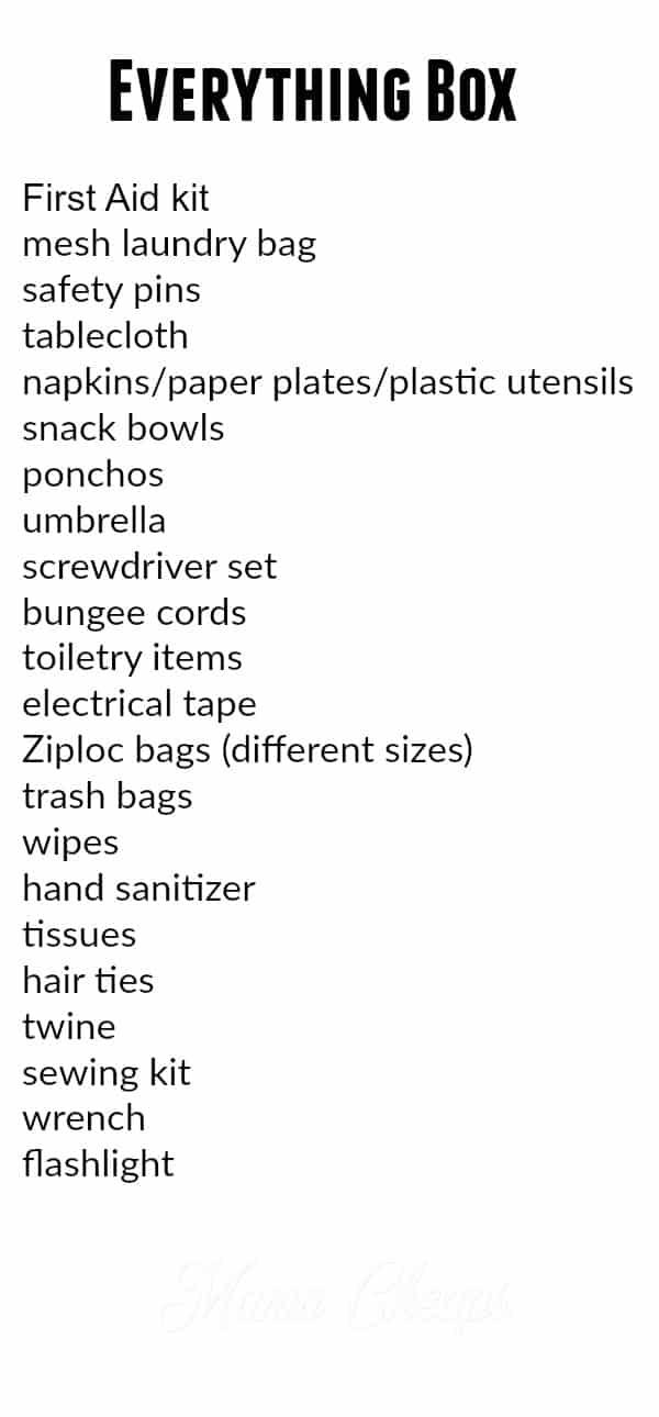 Everything Box Shopping List