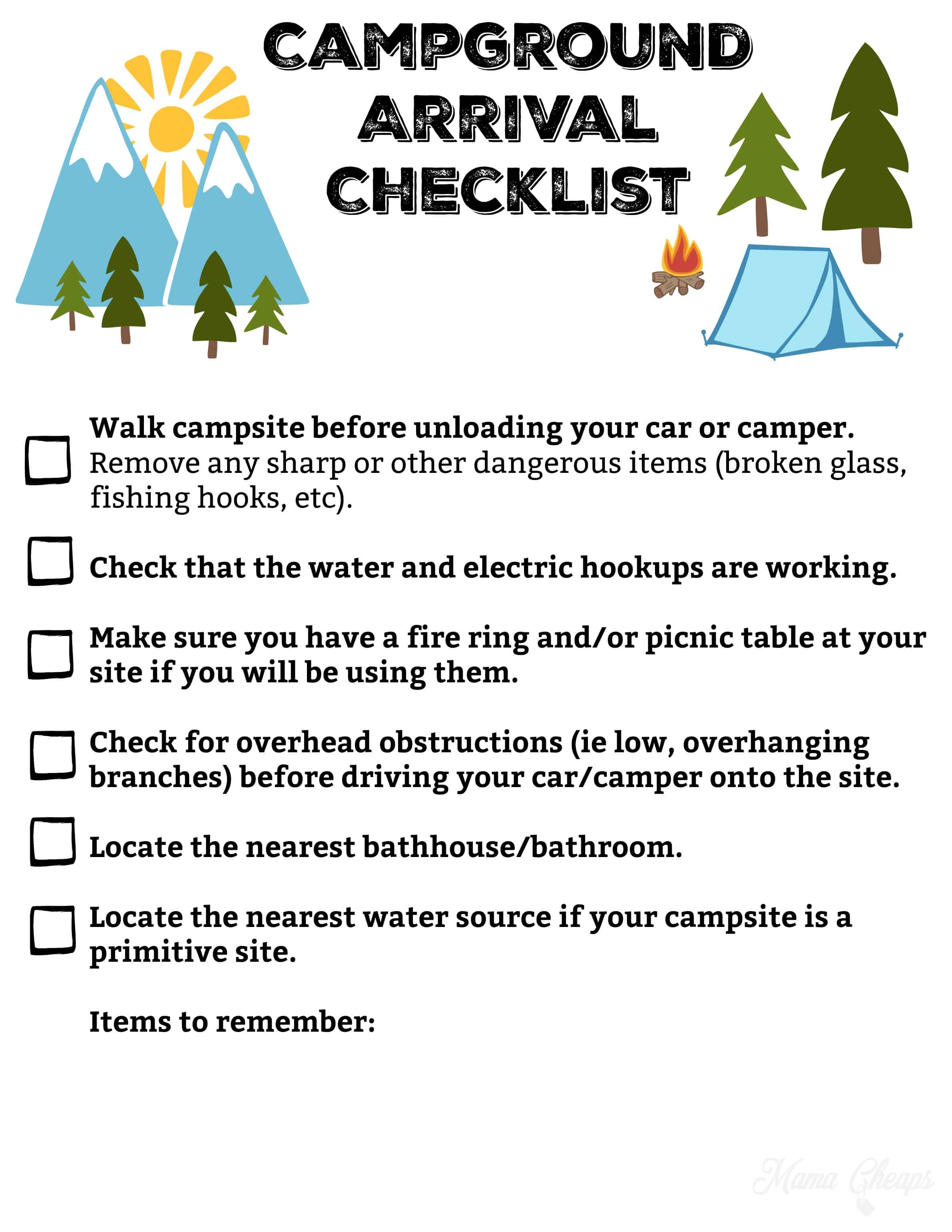 Free Printable Camping Trip Planning Kit | Mama Cheaps
