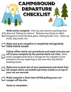 Campground Departure Checklist