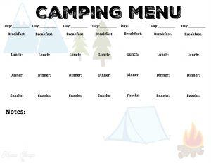 Camping Menu Plan