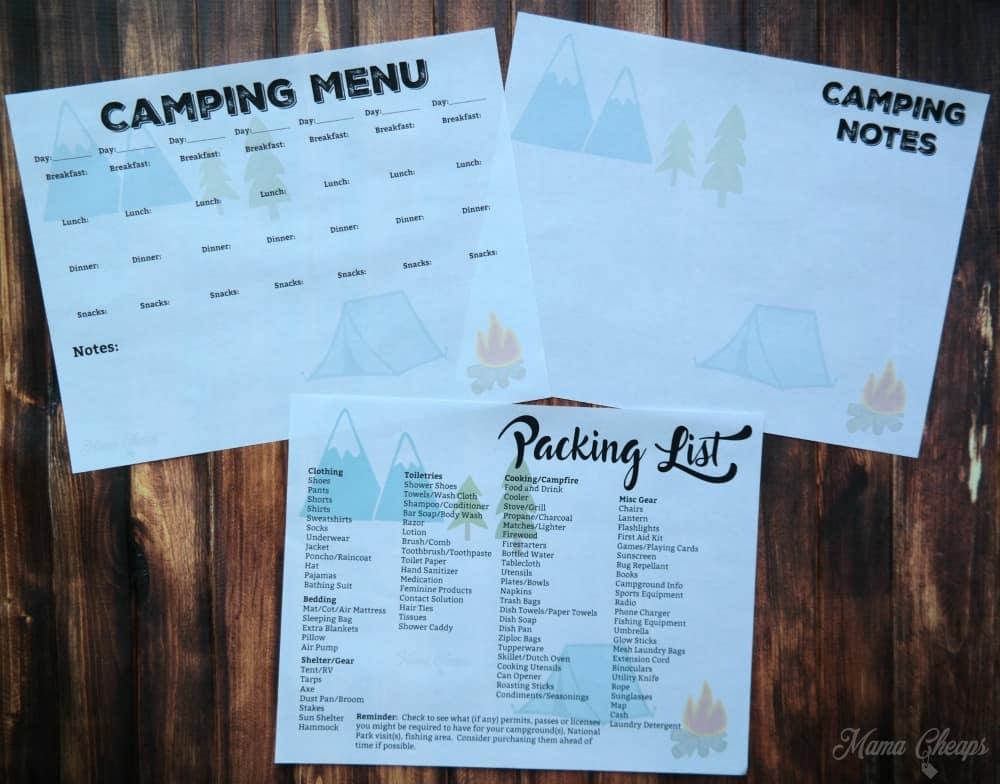 Camping Printables 1