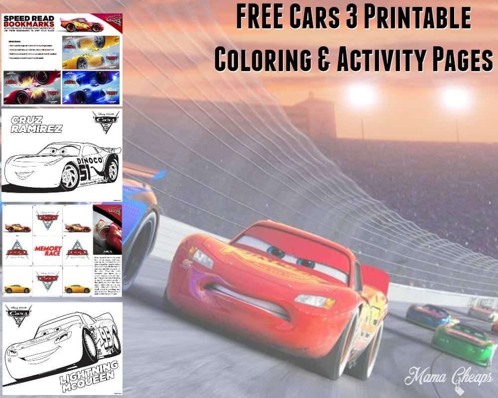 FREE Cars 3 Printable Coloring Pages Activity Sheets Mama Cheaps