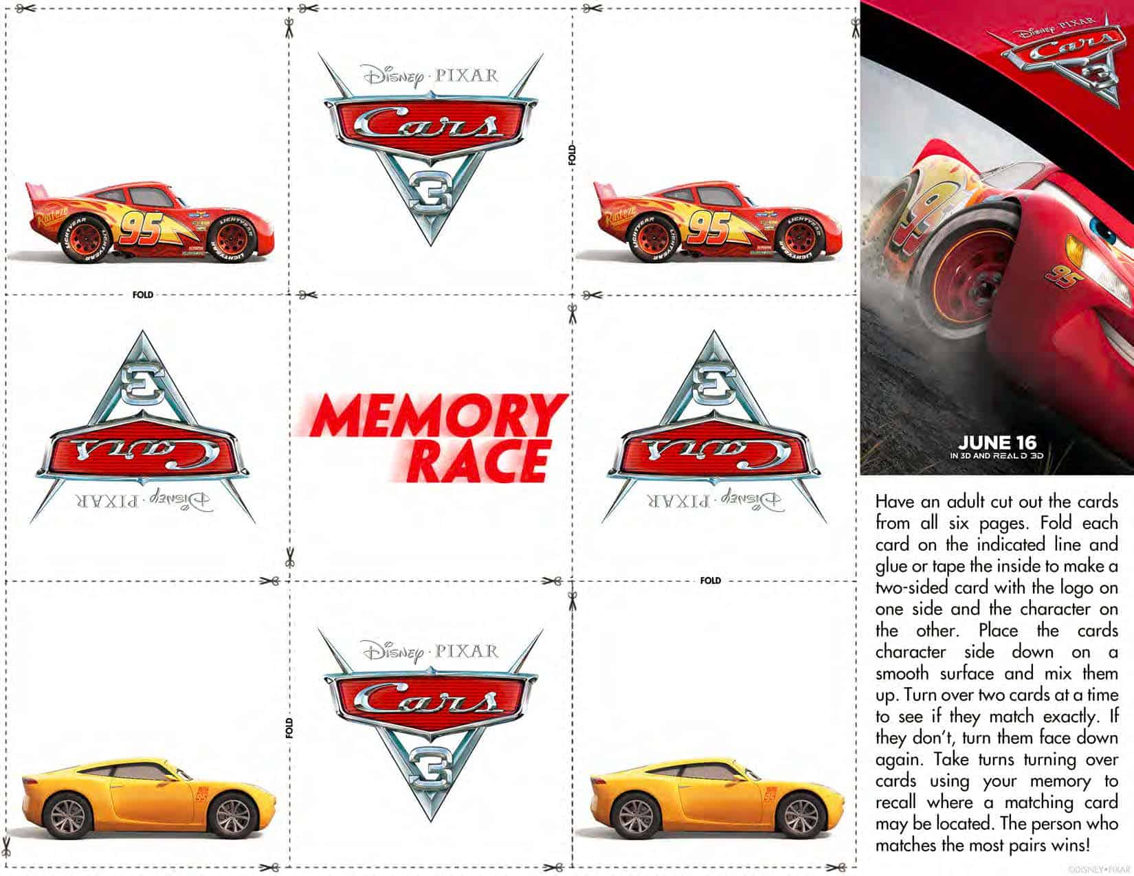FREE Cars 3 Printable Coloring Pages Activity Sheets