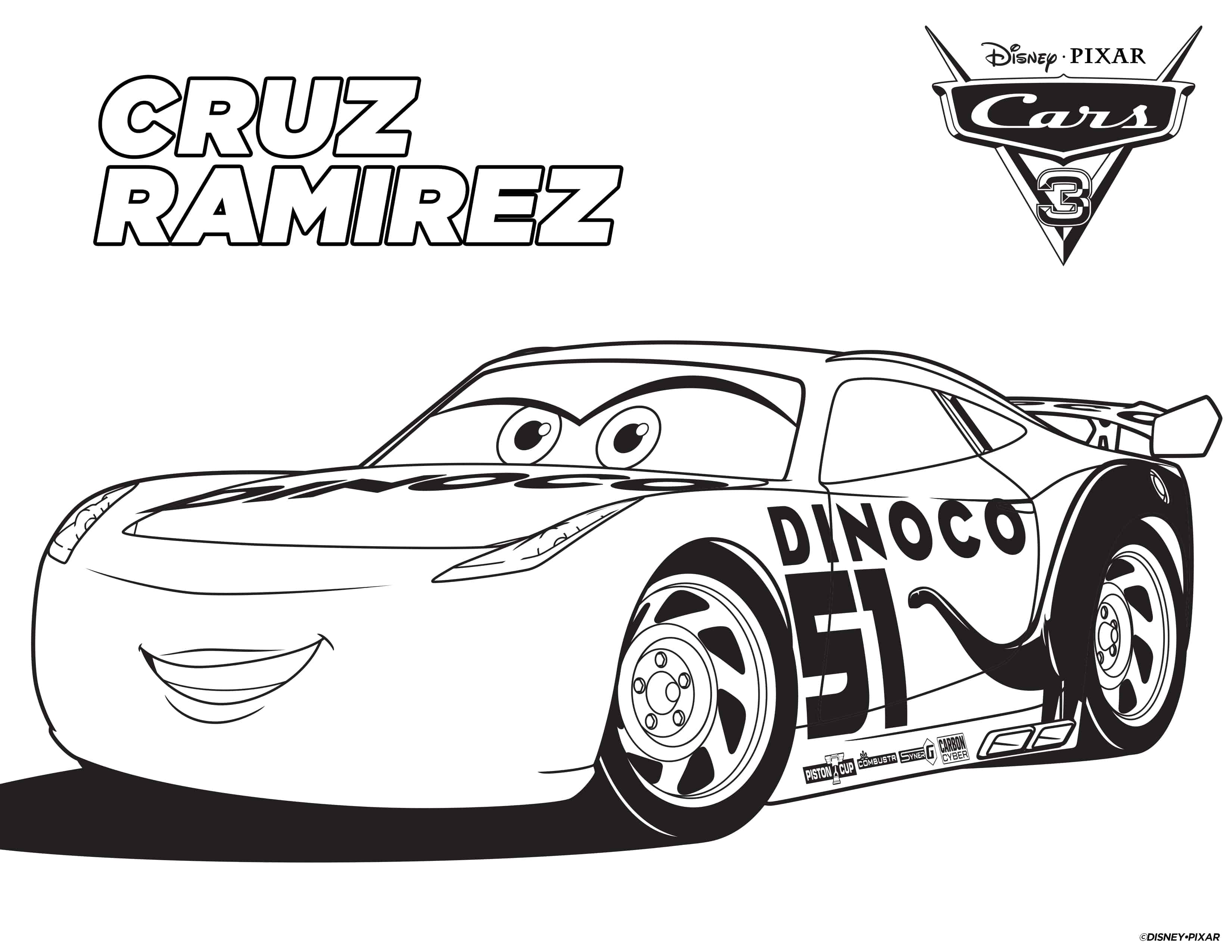 FREE Cars 3 Printable Coloring