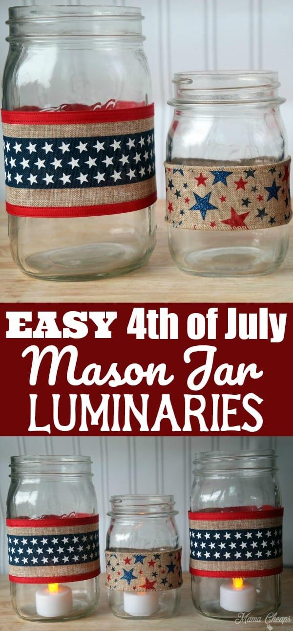 Easy 4th of July Mason Jar Luminaries